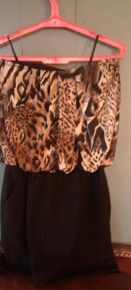 Cheetah print strapless Club dress